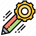 cogwheel, engineering, management, pencil, project icon