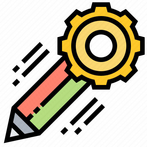 Cogwheel, engineering, management, pencil, project icon - Download on Iconfinder