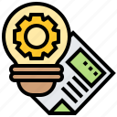 bulb, gear, idea, innovation, inspiration icon