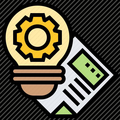 bulb, gear, idea, innovation, inspiration icon