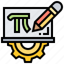 board, calculation, math, pencil, pi icon