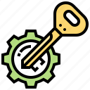 gear, key, problem, solving, unlock icon