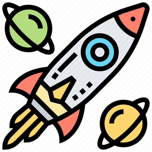 exploration, planet, rocket, spacecraft, technology icon