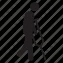 broken, crutch, injured, leg icon