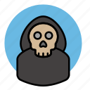 death, evil, halloween, skeleton, skull icon