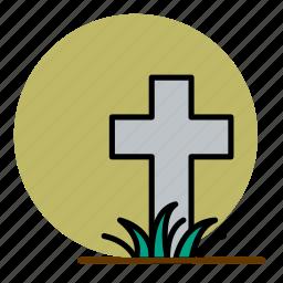cemetery, cross, death, grave, graveyard, halloween icon