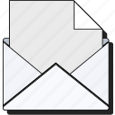 communication, email, envelop, envelope, mail, message, open, send, sticker icon