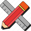 drawing, learning, pencil, ruler, school, sticker, tool, write icon