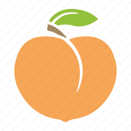 apricot, food, fruit, leaf, peach, sticker icon