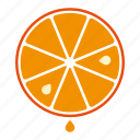 drop, food, fruit, juice, orange, slice, sticker icon