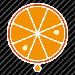 drop, food, fruit, juice, orange, slice, sticker icon