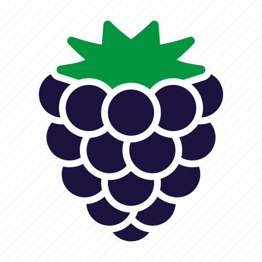 blackberry, food, fruit, sticker icon