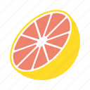 food, fruit, grapefruit, halved, sticker icon