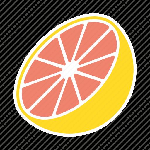 food, fruit, grapefruit, halved, sticker icon
