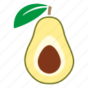 avocado, food, fruit, halved, leaf, sticker icon