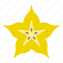 carambola, food, fruit, slice, star fruit, sticker icon