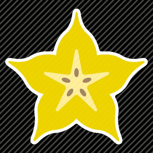 carambola, food, fruit, slice, star fruit, sticker icon