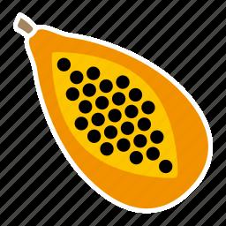 food, fruit, halved, papaya, seeds, sticker icon