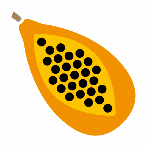 food, fruit, halved, papaya, seeds, sticker icon