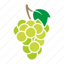 food, fruit, grapes, green, leaf, sticker, white