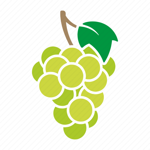 food, fruit, grapes, green, leaf, sticker, white icon