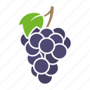 blue, food, fruit, grapes, leaf, sticker icon