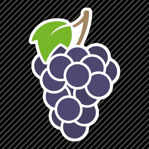 blue, food, fruit, grapes, leaf, sticker icon