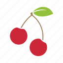 cherries, cherry, food, fruit, sticker icon