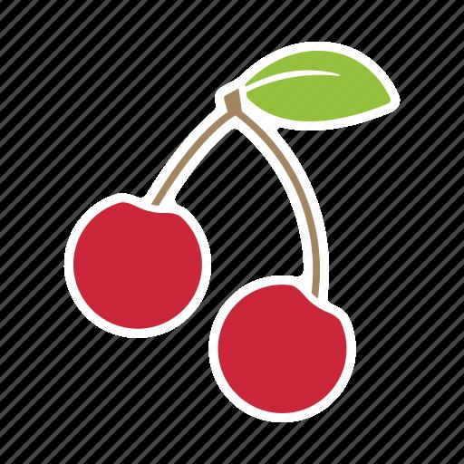 cherries, cherry, food, fruit, sticker icon