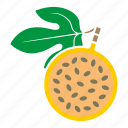 food, fruit, half, leaf, passion fruit, sticker, yellow icon