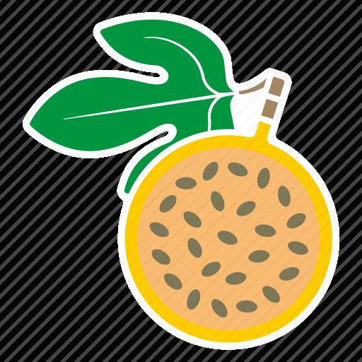 food, fruit, half, leaf, passion fruit, sticker, yellow icon