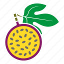 food, fruit, half, leaf, maracuja, passion fruit, sticker icon