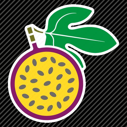 food, fruit, half, leaf, maracuja, passion fruit, sticker icon