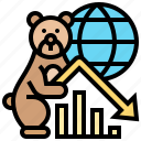 bear, chart, decreasing, global, trend icon