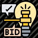 bid, finance, lightbulb, market, price icon