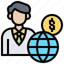 businessman, global, broker, market, stock icon