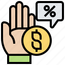 commission, fee, hand, paid, percentage icon