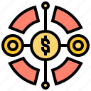allocating, capital, diversification, investment, variety icon