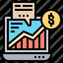 data, laptop, margin, account, broker icon