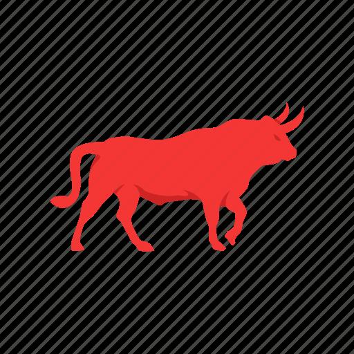 animal, bull market, red bull, stock market icon