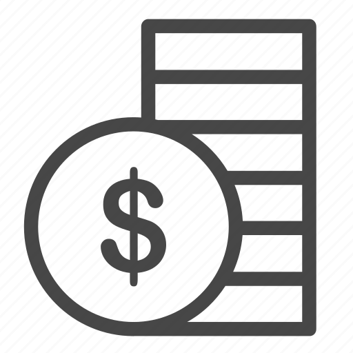 coins, dividend, earning, money, pile, revenue, stocks icon