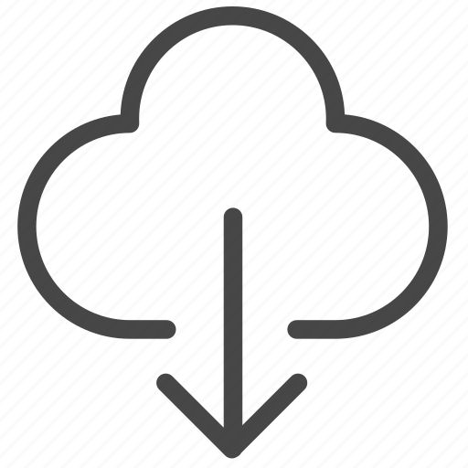 cloud, cloud service, down, download, internet, online, shopping icon