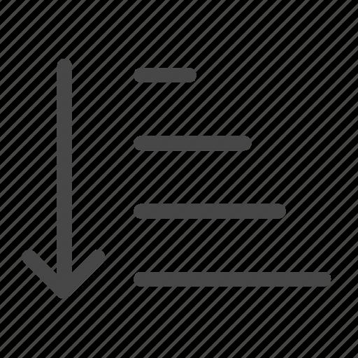 ascending, descending, increment, order, ordered, sort, sorting icon