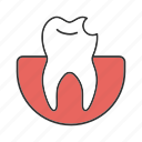 broken, chipped, cracked, dental medicine, stomatology, teeth, tooth icon