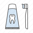 brushing, dentifrice, paste, teethcare, tooth, toothbrush, toothpaste icon