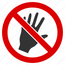 do not touch, forbidden, no hand, palm warning, prohibition, risk, stop icon