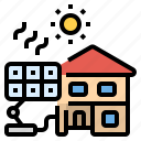energy, house, save, solarcell, sun icon