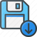 disk, download, drive, floppy, save, storage icon