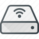 disk, drive, external, harrd, storage, wifi, wireless icon