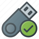 check, disk, drive, flash, storage, usb icon